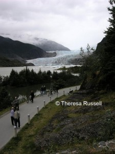 Cycling toward Mendenhall Glacier