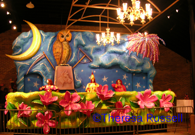 Floats from the parades are on display