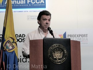 Colomabi 2832 President Juan Manuel Santos addresses audience
